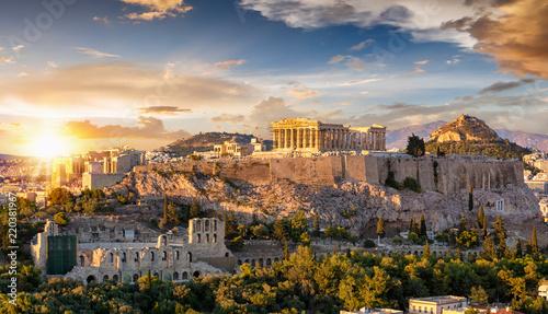 Foto op Aluminium Athene Sonnenuntergang über der Akropolis von Athen mit dem Parthenon Tempel, Griechenland