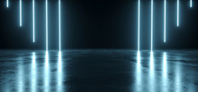 Futuristic Sci Fi Dark Empty Room With Blue Neon Glowing Line Tubes On Grunge Concrete Floor With Reflections 3D Rendering