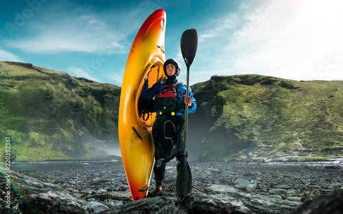 Fototapeta Whitewater kayaking, extreme kayaking