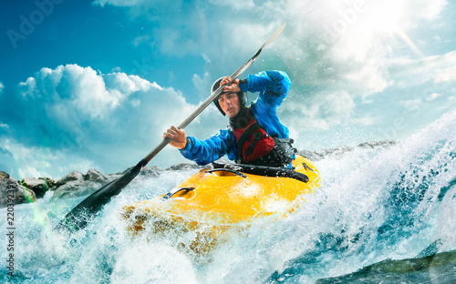 Fotografie, Obraz Whitewater kayaking, extreme kayaking