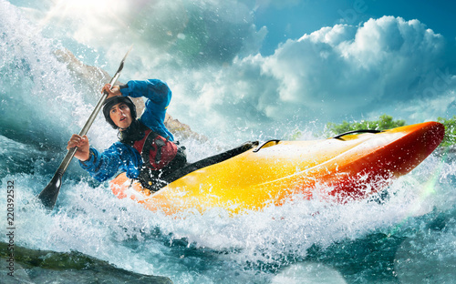 Fotografiet  Whitewater kayaking, extreme kayaking