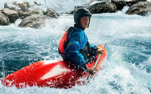 Pinturas sobre lienzo  Whitewater kayaking, extreme kayaking