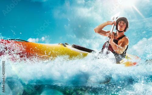 Fotografie, Obraz  Whitewater kayaking, extreme kayaking