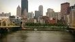 An aerial pull from downtown Pittsburgh between the Carson and Warhol bridges.