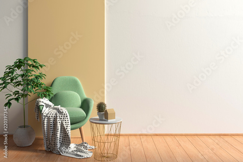 Modern interior with contemporary chair. Wall mock up. 3d illustration.