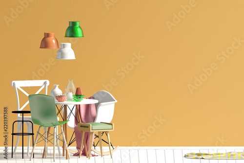 Fotografie, Obraz  Mock up wall in interior with dining area