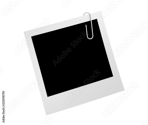 Obraz Blank retro photo frame and paper clip isolated on white background for office business concept, attached to paper. 3d illustration - fototapety do salonu