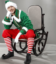 Christmas Time And Green Elf On Chair