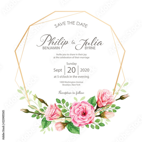 Fototapeta Beautiful Pink Floral Wedding Invitation Card On White Background Vector Water Color
