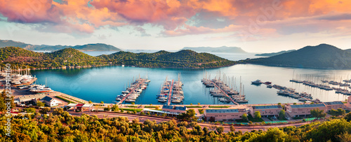 Foto auf Gartenposter Landschaft View from the bird's eye of the Kas city, district of Antalya Province of Turkey, Asia. Colorful spring panorama of small Mediterranean yachting and tourist town