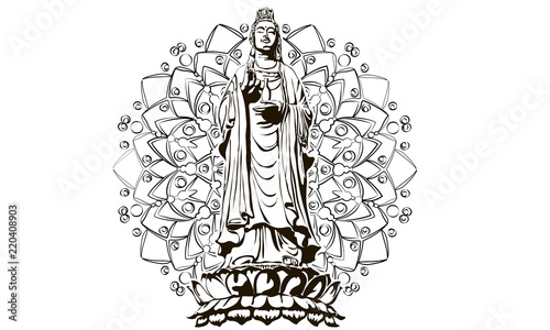 image of statue of the goddess guanine bodhisattva, the goddess of mercy vector Canvas Print