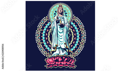 Photo image of statue of the goddess guanine bodhisattva, the goddess of mercy vector