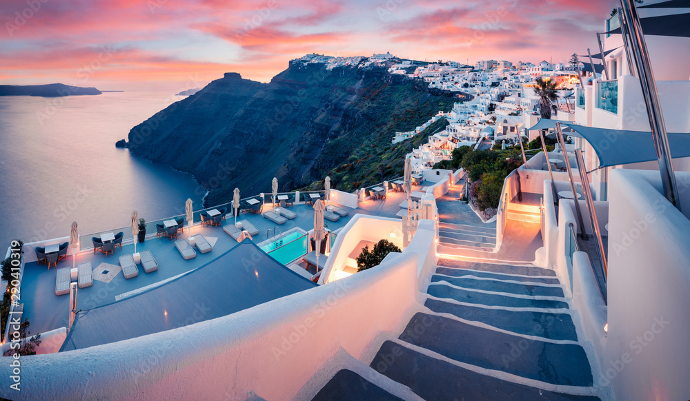 Fototapety, obrazy: Great evening view of Santorini island. Picturesque spring sunset on the famous Greek resort Fira, Greece, Europe. Traveling concept background. Artistic style post processed photo.