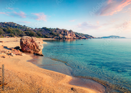 Door stickers Blue jeans Sunny summer seascape of Aegean Sea. Beautiful marine landscape of Cuba Beach, Olimpiada village location, Greeace, Europe. Beauty of nature concept background.