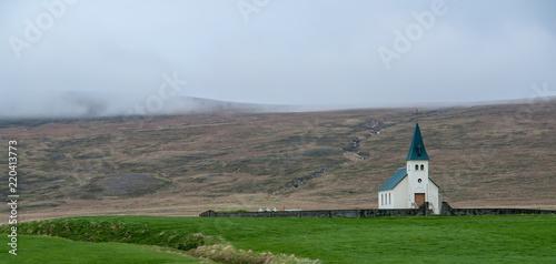 Obraz na plátně Tjorn church at Vatnsnes Peninsula - Iceland