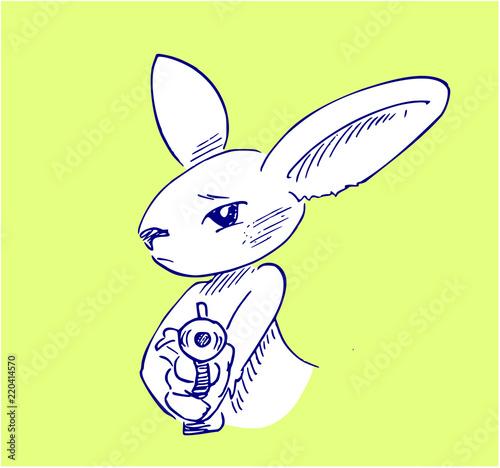 Obraz na plátne konijn met pistool
