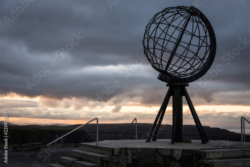 Fotobehang Noord Europa norwegian north cape monument, without tourists making pictures, norway, europe, sunset