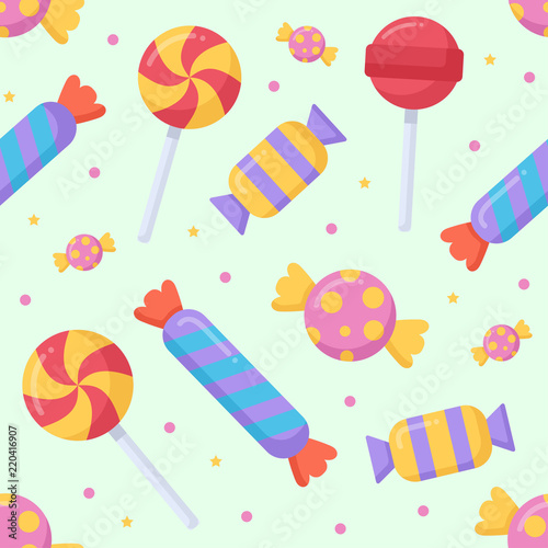 fototapeta na lodówkę Cute candy and lolipop seamless pattern on a light background. Vector illustration.