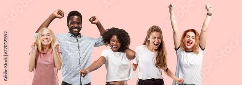 Collage of winning success happy men and women celebrating being a winner. Dynamic image of caucasian male and female models on pink studio background. Victory, delight concept. Human facial emotions