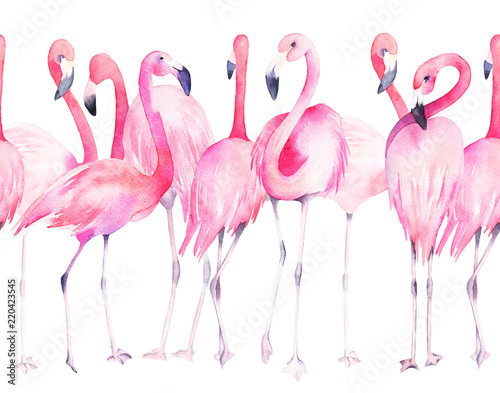 Photo sur Plexiglas Watercolor seamless pattern with exotic flamingo. Summer decoration print for wrapping, wallpaper, fabric