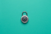 Dial Metal Combo Lock Front View Locked On Green Background Used