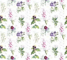 Panel Szklany Do kuchni Seamless pattern with Collection herb. Watercolor hand drawn illustration. Botanical illustration