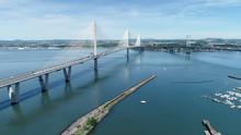 Aerial View Of The Queensferry Crossing Bridge Near Edinburgh.
