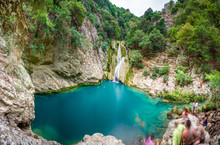 Natural Waterfall And Lake In ...