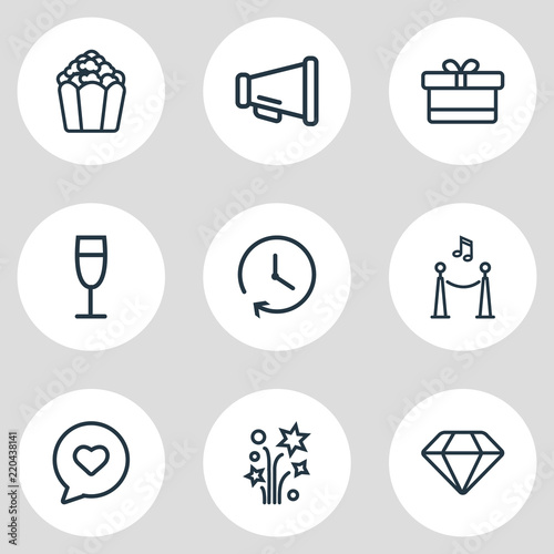 Fotografija  Vector illustration of 9 event icons line style