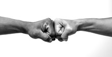 Man Giving Fist Bump, Monochro...