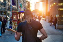 Toronto, Street Musician Entertaining The Crowd