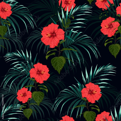Foto op Canvas Draw Tropical background with jungle plants. Seamless tropical pattern with dark palm leaves and tropical red hibiscus flowers.