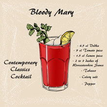 Cocktail Bloody Mary In Sketch Style For Menu, Cocktail Cards 3