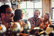canvas print picture - Happy friends having fun at bar - Young trendy people drinking beer and laughing together