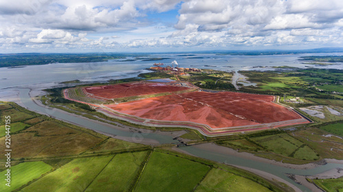 Aughinish Alumina Refinery, Foynes,Ireland - 29th August, 2018: Aerial view of Aughinish Alumina Refinery on the Shannon River , Co Limerick, it is The largest alumina refinery in Europe Wallpaper Mural