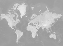 Map Of The World In Mercator Projection (no Antarctica) - Terrain Depicted Monochromatically In Shades Of Gray. Gray Earth With Shaded Relief, Hypsography, Ocean Bottom, And Drainages - 3D Rendering