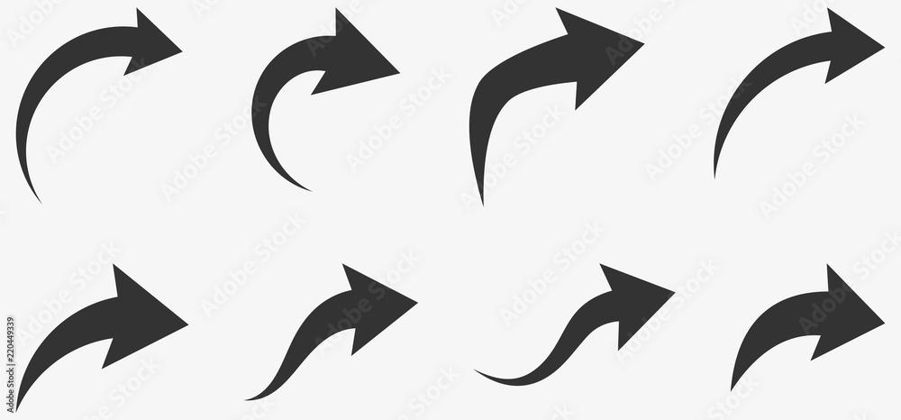 Fototapeta Set of black curved arrows isolated on white.