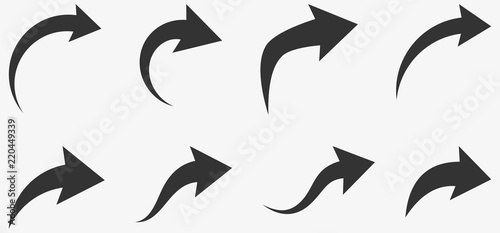 Obraz Set of black curved arrows isolated on white. - fototapety do salonu