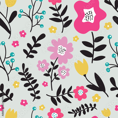 Seamless colorful floral pattern with wild flowers on gray background. Simple scandinavian style. Vector illustration