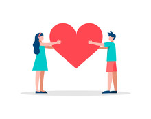 Red Heart Shape People Concept Illustration