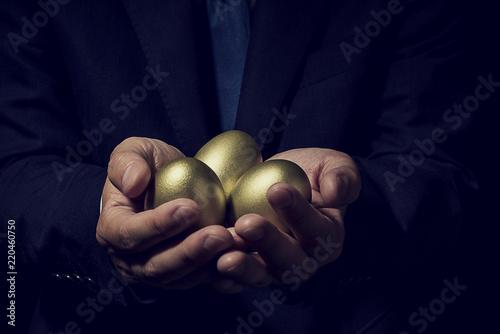 Stampa su Tela 金の卵を手に持ったビジネスマン