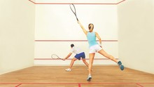 Couple People Playing Squash