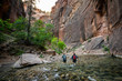 Two Young Female Friends Hiking Through the Narrows, Zion National Park, Utah - USA
