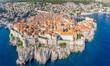 Leinwanddruck Bild Aerial view of Dubrovnik old city in summer, Croatia