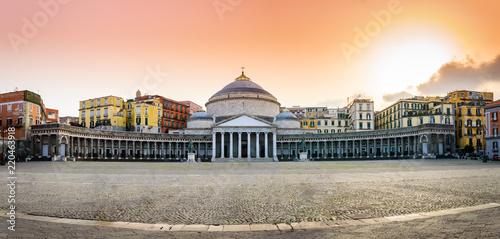 Garden Poster Napels Naples, Italy: Piazza del Plebiscito with San Francesco di Paola church