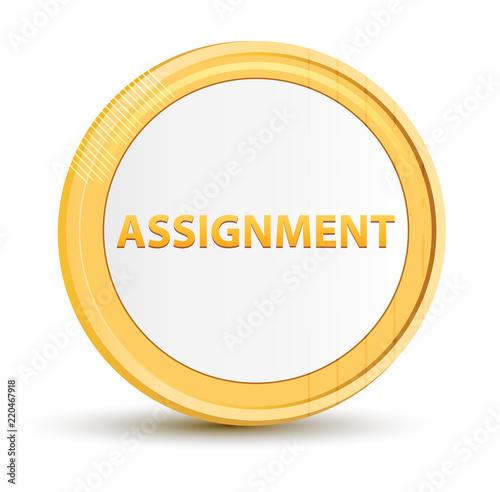 Assignment gold round button Canvas Print