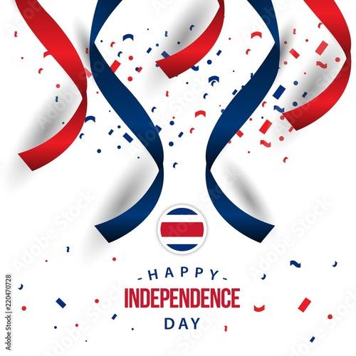 Obraz na plátně Happy Costa Rica Independence Day Vector Template Design Illustration