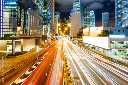 Fototapety, obrazy: Modern city at night, Hong Kong, China.