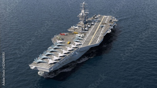 Fényképezés Aircraft carrier crossing the ocean 3D rendering