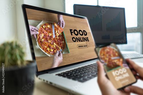 Fototapeta Close up woman ordering food online  by internet  Concept order food obraz